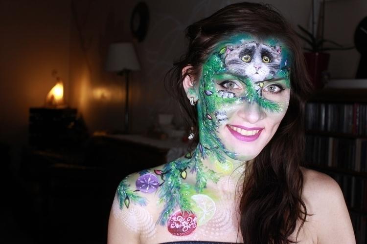 cat, mog, face, painting, winter - uliankaarty   ello