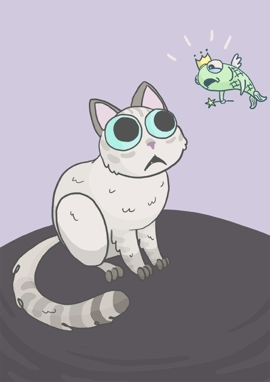 cat magic fish - white, illustration - vianeo | ello