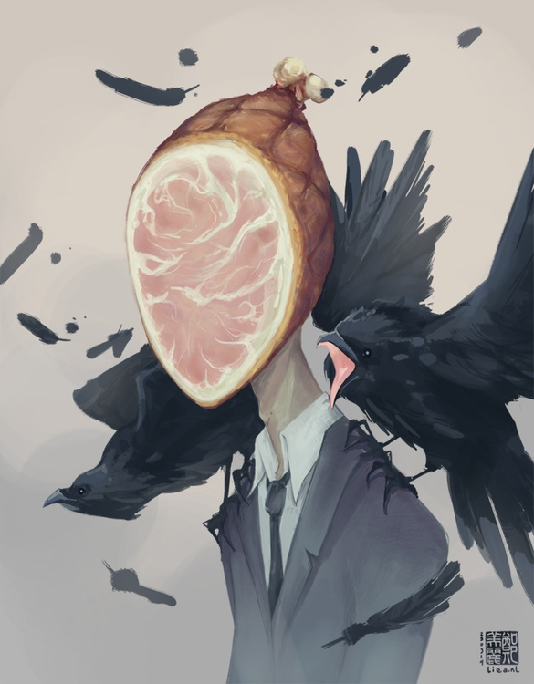 Ham Home - surrealism, ham, crows - liea-7253 | ello
