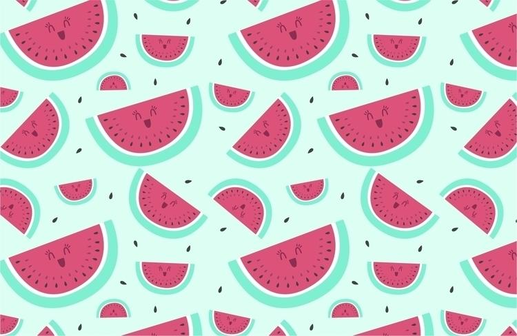 Watermelon pattern - illustration - lucecitasroom | ello