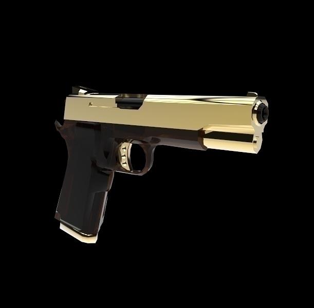 Gun - gun, pistol, 3d, 3dmodel, gold - frankreyes | ello