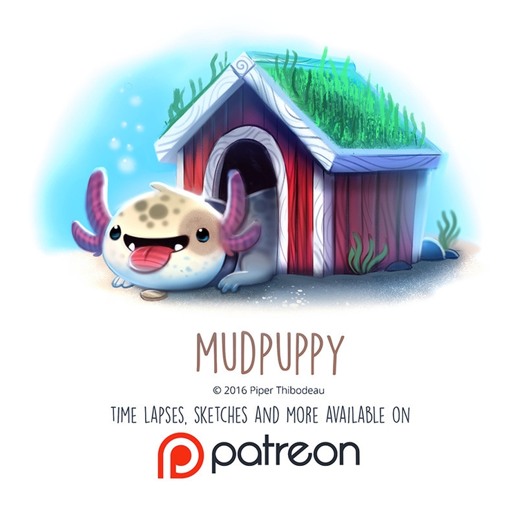 Daily Paint 1459. Mudpuppy - piperthibodeau | ello