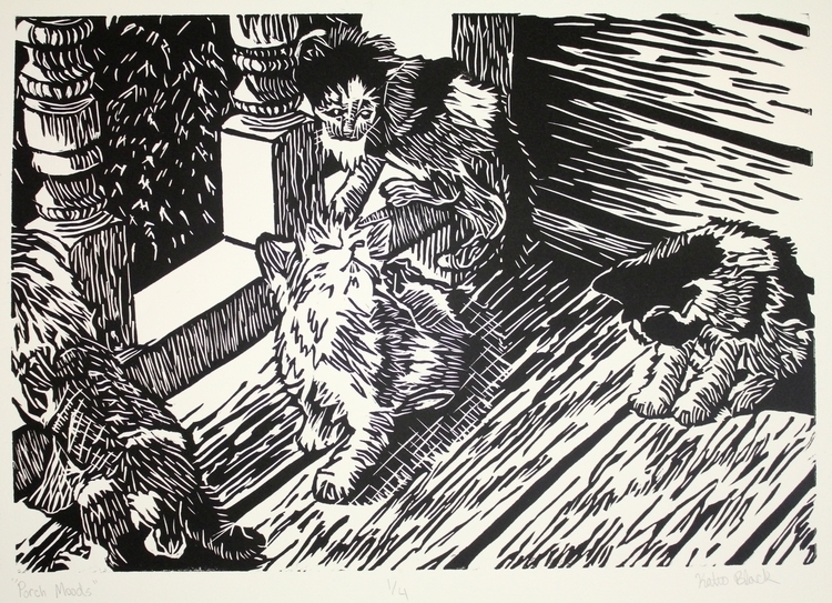 Linoleum cut print kittens porc - keprzygoda | ello