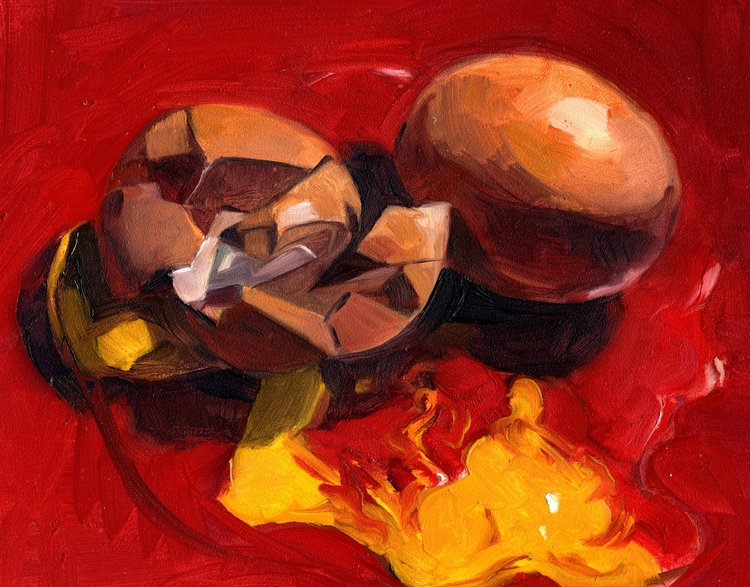 Oil gessoboard - egg - pom-1507   ello