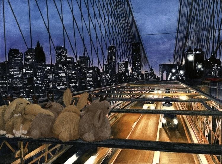 Jackalopes Brooklyn Bridge - illustration - eunice-3818 | ello