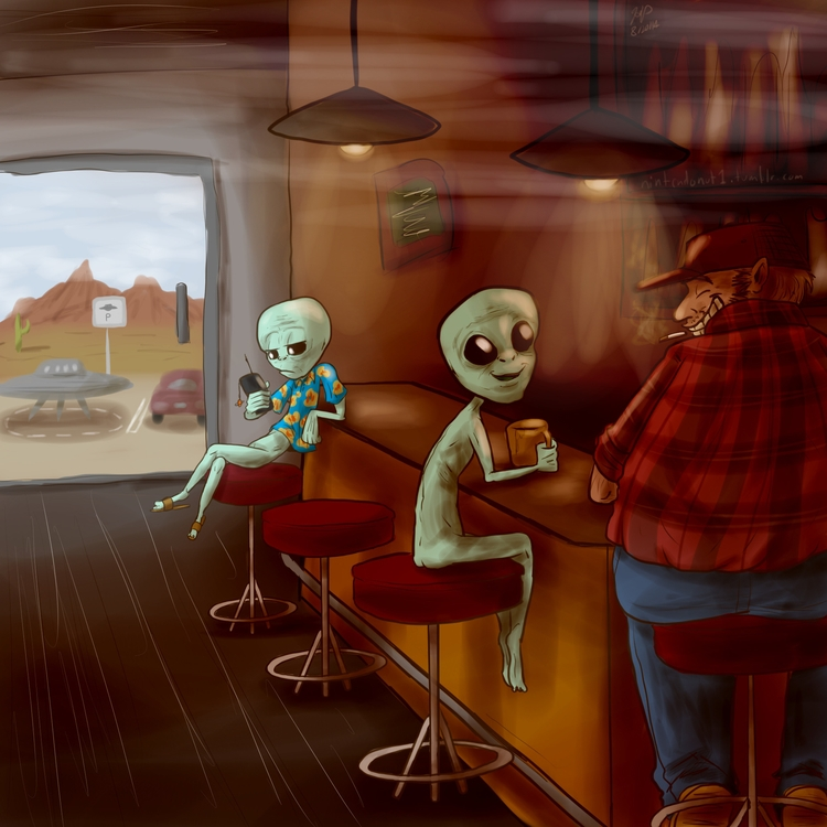 Rest stop - illustration, aliens - kelsbugproductions | ello