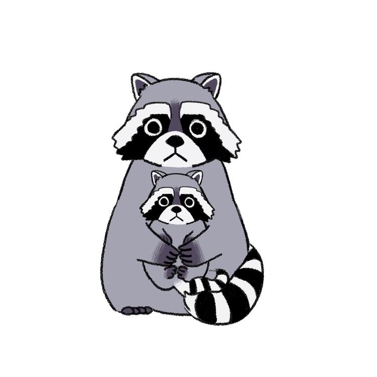 Raccoons - illustration, character - eunice-3818   ello