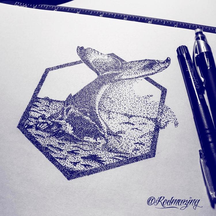 Fluke Whale Dotwork illustratio - rodmazing | ello