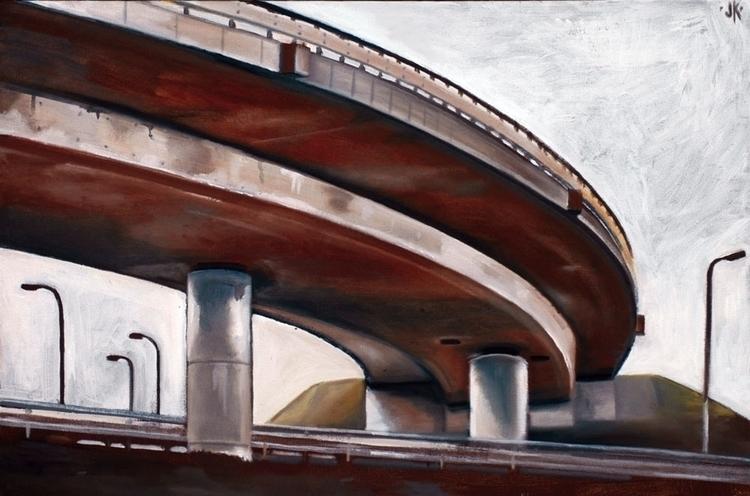 Bridge(Highway). 50x70 cm. Oil  - reconq | ello
