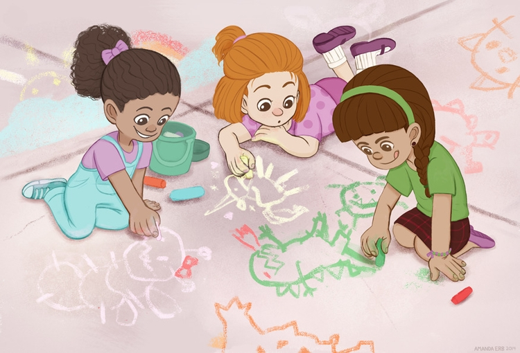 sidewalk chalk girls - children'sillustration - amandaerb | ello