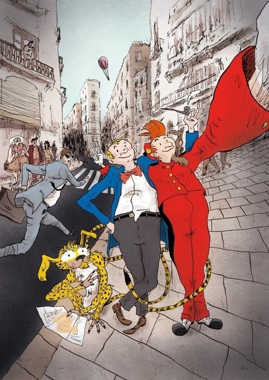 Spirou Fantasio - illustration, characterdesign - scabotba | ello