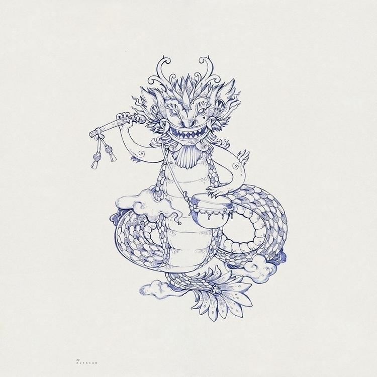 Dragon play drum Pencil paper | - sithzam | ello