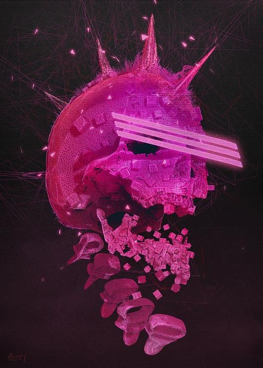 Pink SKULL - illustration, characterdesign - lpetty | ello