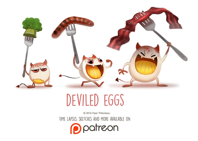 Daily Paint 1465. Deviled Eggs - piperthibodeau | ello