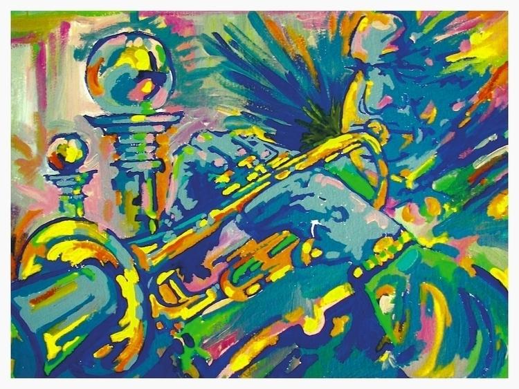 painting, Jazz, Impulse, trumpet - rodjohnsonart | ello