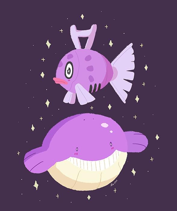 Shiny Feebas Wailmer - pokémon, fanart - alexandrasketch | ello