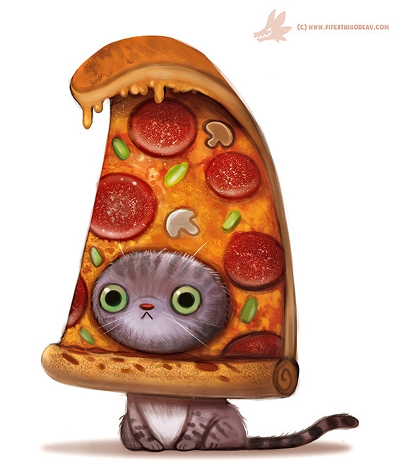 Daily Paint Pizza Cat - 1103. - piperthibodeau | ello
