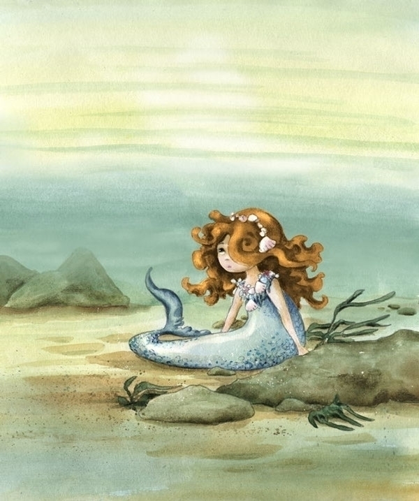 Mermaid - illustration, watercolor - joannapasek | ello