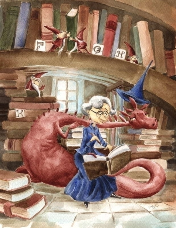 Library - illustration, watercolor - joannapasek | ello