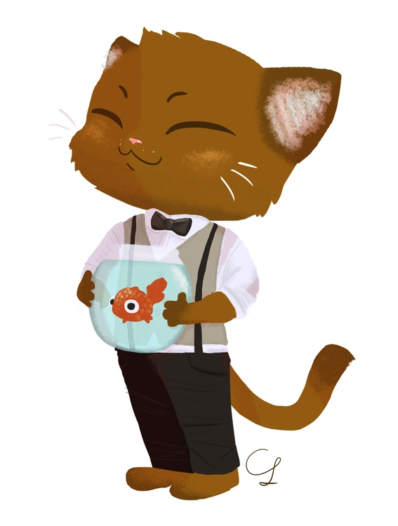 Cat Pet Fish - cat, kitten, kitty - unicorndoodles | ello