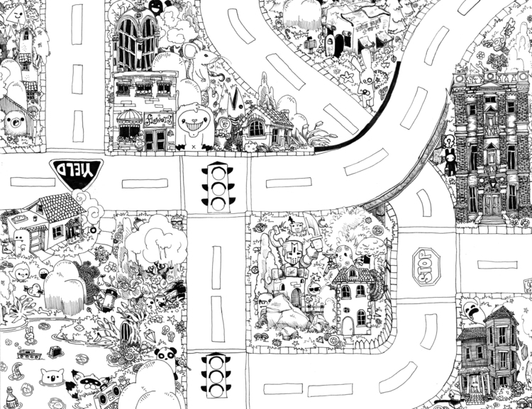 Seek Find Doodle Map 2 - illustration - wyldtrees | ello