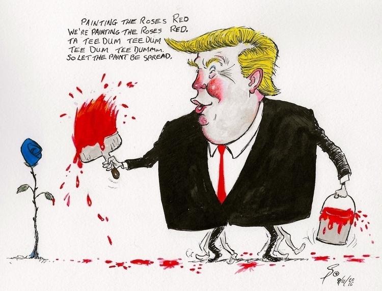 Donald Trump, painting roses re - yazzum | ello