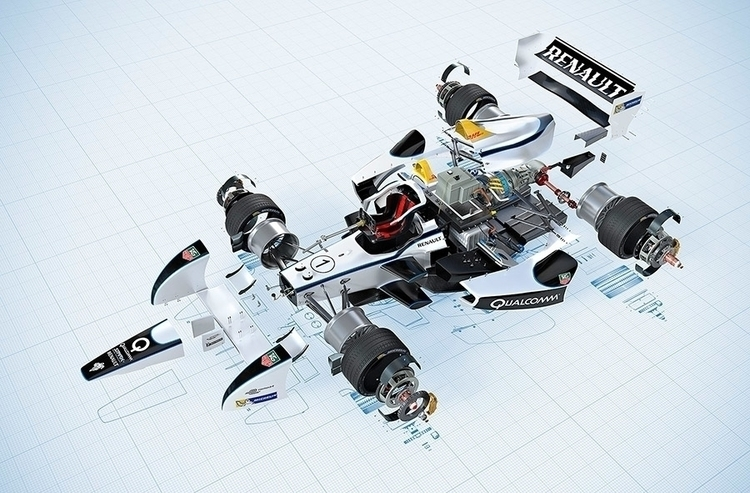 Formula car Exploded view - illustration - murdoch-7175 | ello