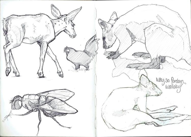 Moleskin Project - pg 03 - Animals - celestialartistry | ello
