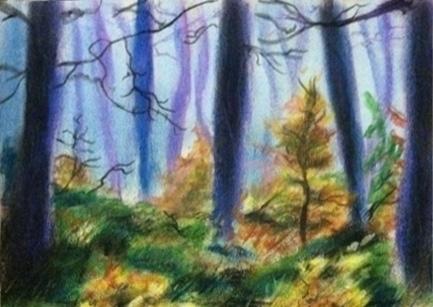 purple forest - landscape, pastel - chimerikel | ello