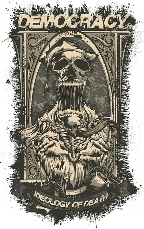 Skull democracy - illustration, digitalart - swodshit | ello
