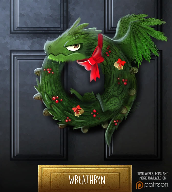 Daily Paint 1477. Wreathryn - piperthibodeau | ello