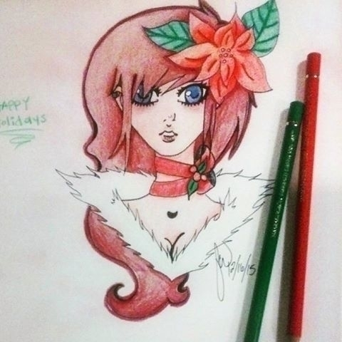Christmas drawing - anime, animeart - felishamarieart | ello