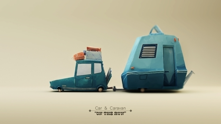 Car caravan - car, blue, cartoon - the_rusted_pixel | ello