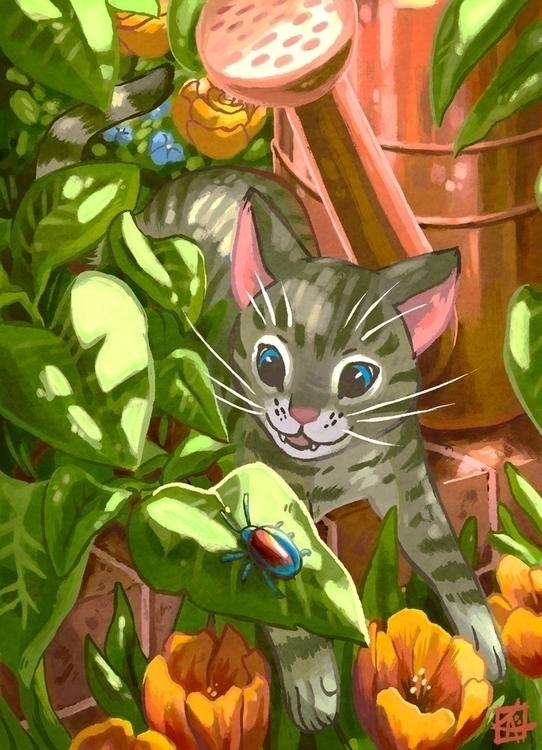 illustration, animals, cat, cats - kerriaitken | ello