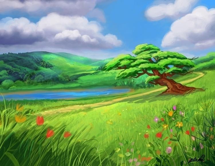 Valparai Landscape - illustration - rkamalart | ello