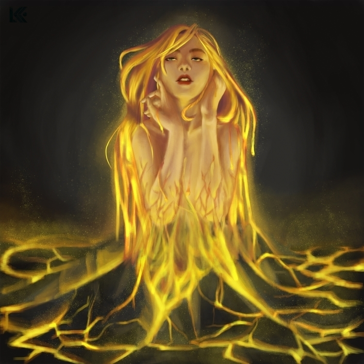 Lava Girl - illustration, digitalpainting - kkllamera | ello
