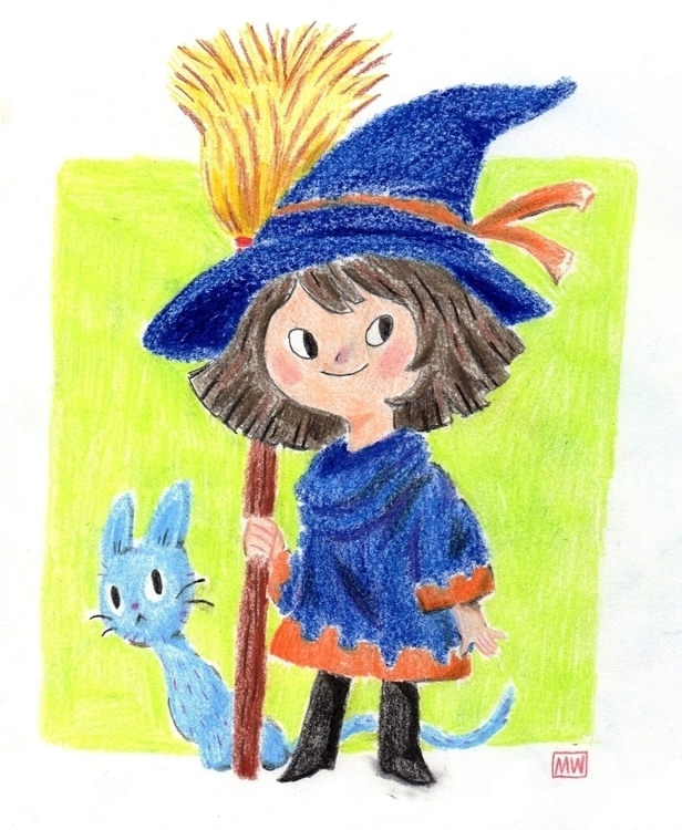 children, kids, cat, witch, coloredpencil - mwentworth | ello