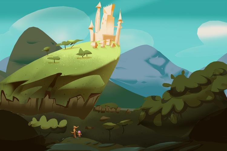 castle, fantasy, cartoon, environment - brokemypencil | ello