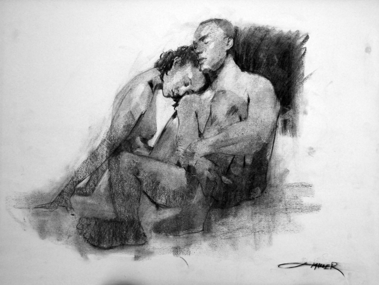 Lovers 24x18'' Charcoal newspri - camm182 | ello