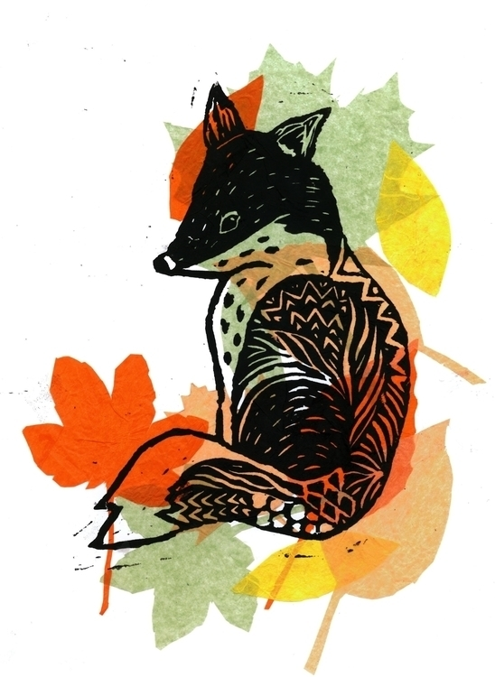 Auntumn Fox lino print - illustration - laurabuckland | ello