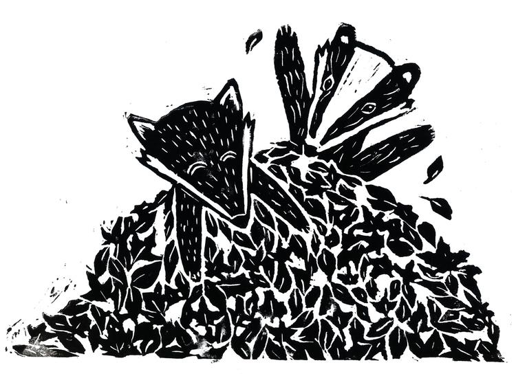 Fox Badger playing - illustration - laurabuckland | ello