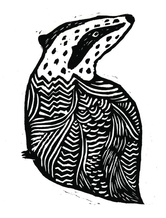 Badger print - illustration, badger - laurabuckland | ello