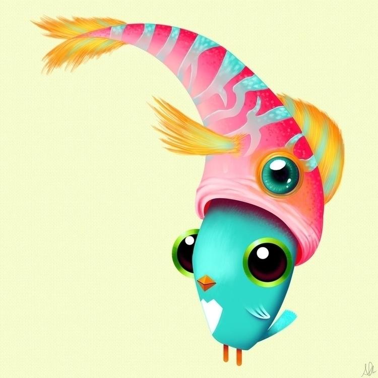 Fishy Situation - painting, characterdesign - alfredmanzanoart | ello