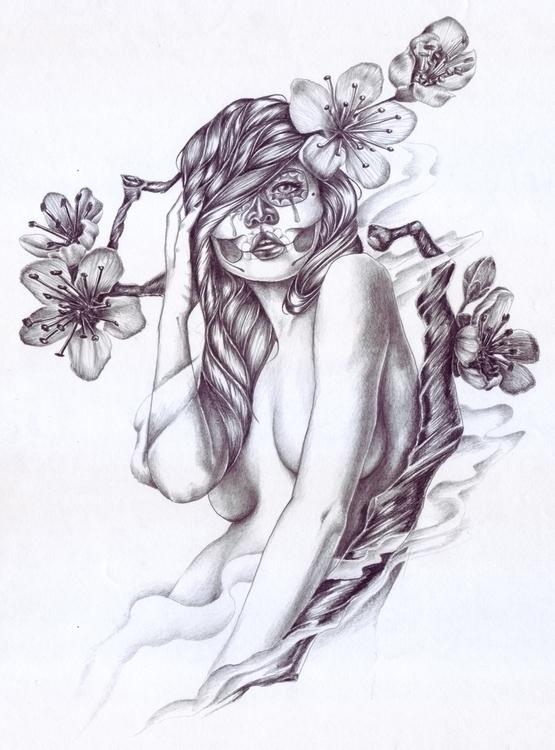 Girl cherry blossom tree tattoo - graphanixdziner   ello