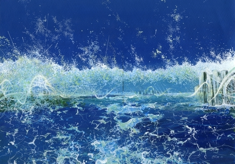 sea - drawing, painting, blue, sky - erik_shutov | ello