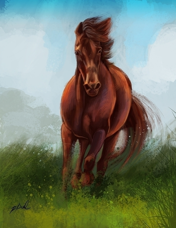 Wild Run - painting, animals, horses - rkamalart | ello