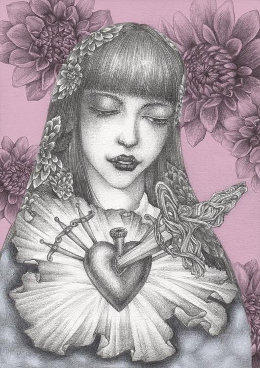 dagger heart - illustration, drawing - juichenhu | ello