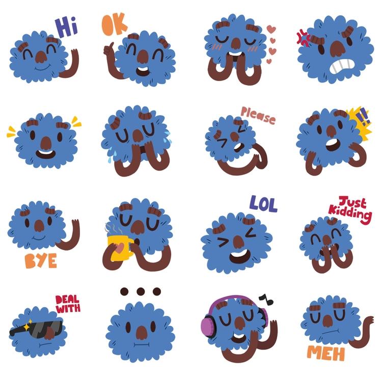 Fuzzy Faces - Coco Stickers - fuzzyface - clairestamper | ello