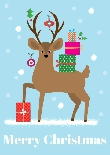 Merry Christmas | Stag - illustration - amycartwright | ello
