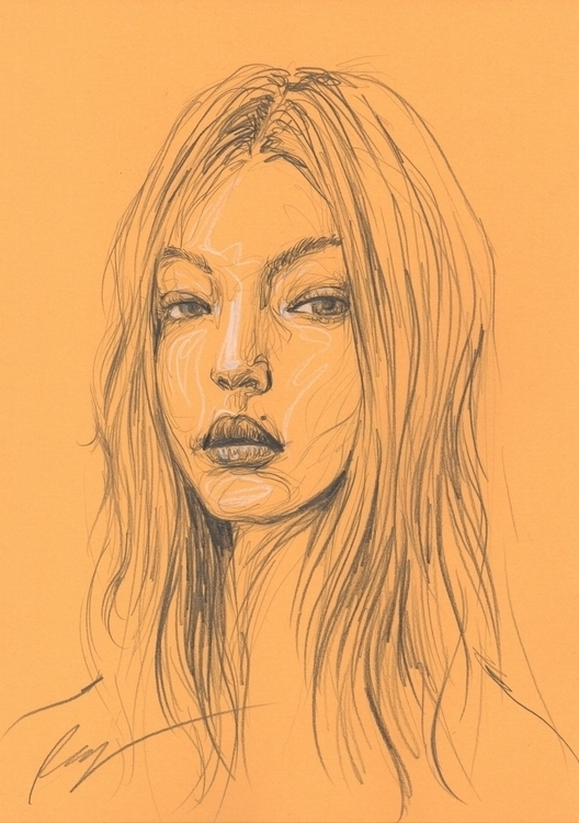 Gigi Hadid - illustration, drawing - juichenhu | ello